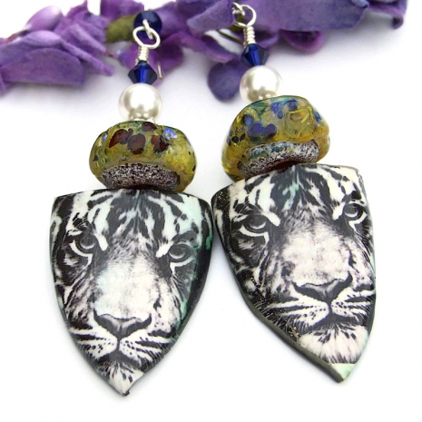 one of a kind handmade ceramic tiger earrings