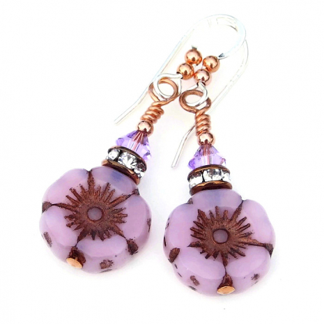 pink opal flower and crystal earrings for her