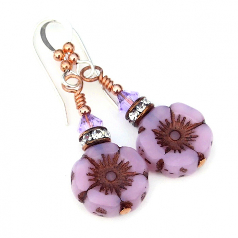 pink opal flower earrings with crystals for women