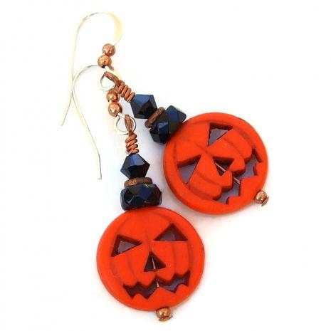 jack o lantern pumpkin halloween jewelry gift for her