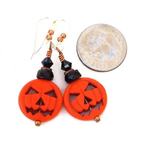 orange and black pumpkin halloween jewelry gift for women
