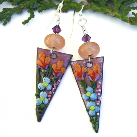 enamel flower earrings with lampwork glass beads and Swarovski crystals
