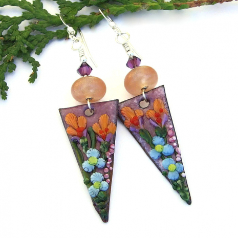 handmade flower earrings gift for women