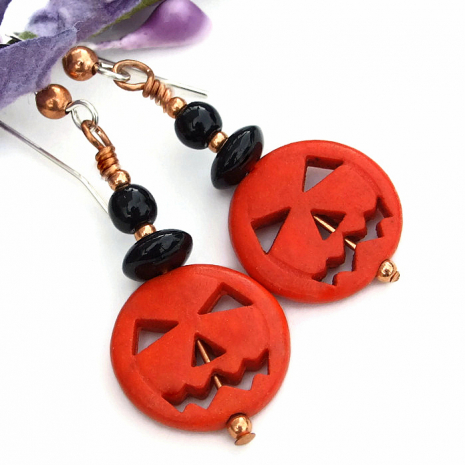orange black halloween pumpkin earrings