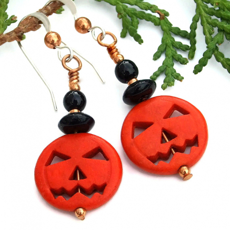 orange black halloween pumpkin jewelry