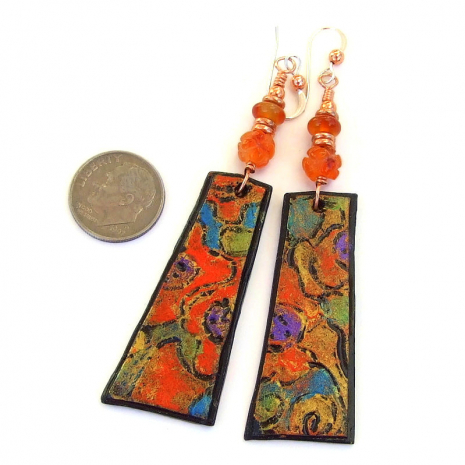 orange blue purple abstract art jewelry lightweight