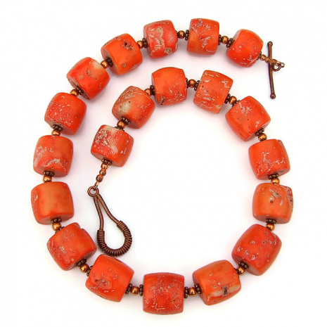 rustic orange coral jewelry for women