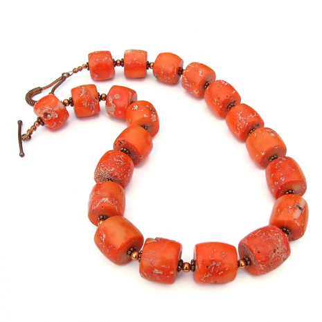 orange coral necklace gift for women