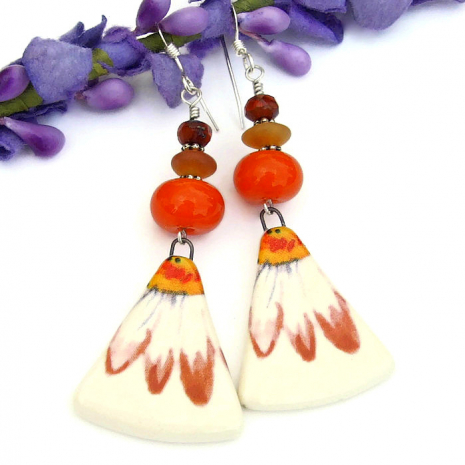 orange daisy dangle earrings with lampwork