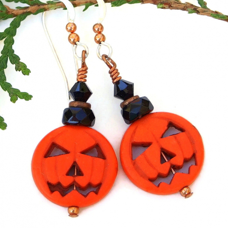 orange halloween pumpkin earrings with black crystals