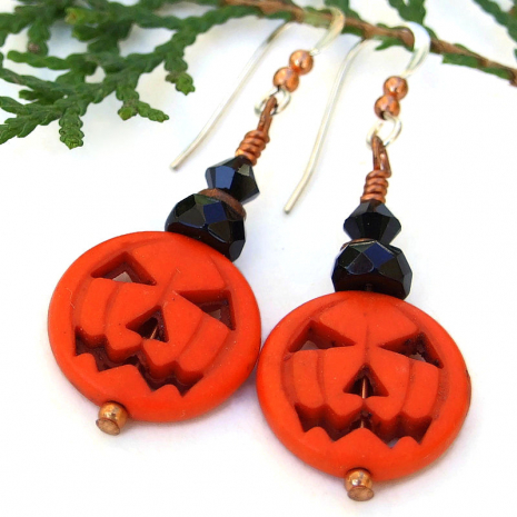 orange halloween pumpkin jewelry with black crystals