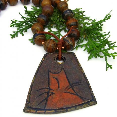 orange kitty cat necklace with tigers eye gemstones