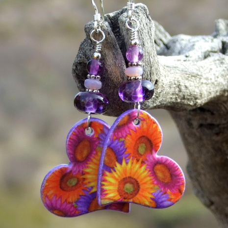 valentines day hearts and flowers earrings gift for her