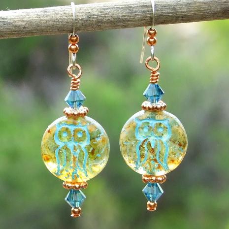 owl earrings gift for women