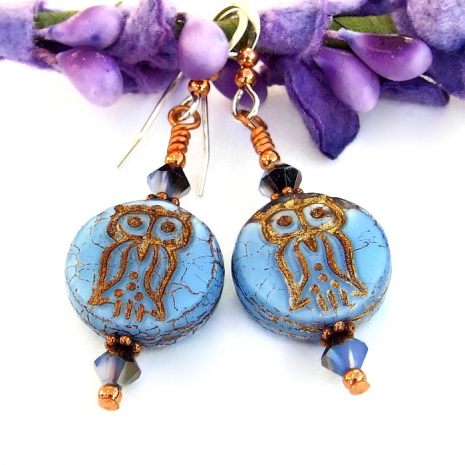 vintage look owl earrings Mothers Day gift