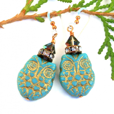 owl earrings with crystals