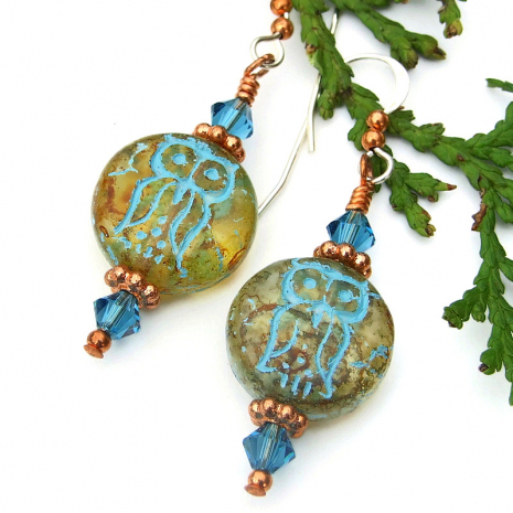 owl earrings with indicolite swarovski crystals