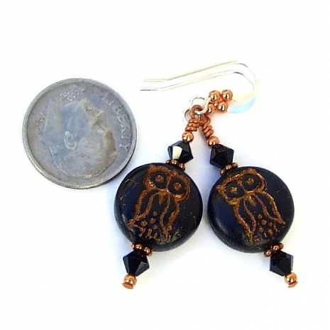 Black and copper owl jewelry