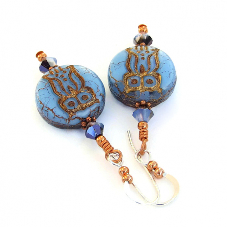blue and copper owl jewelry