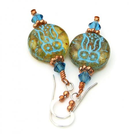owl jewelry with indicolite swarovski crystals