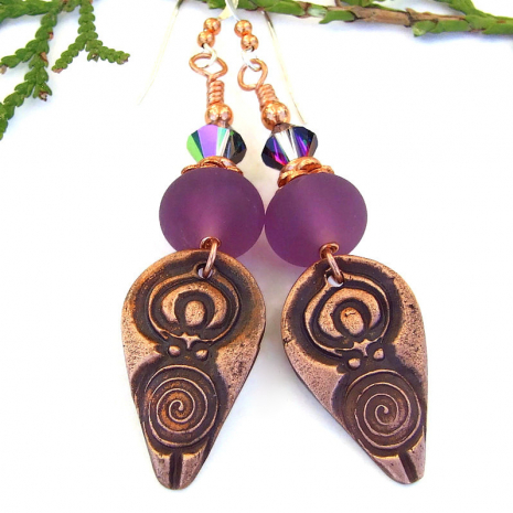pagan spiral goddess handmade earrings purple lampwork swarovski crystals