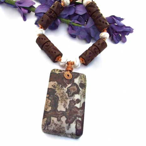 paintbrush jasper jewelry with wood and magnesite gemstones