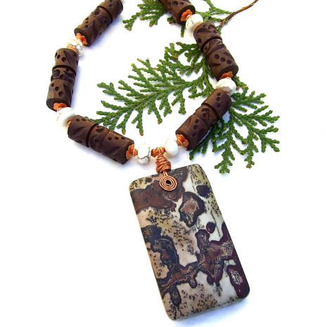 paintbrush jasper necklace with wood and magnesite gemstones