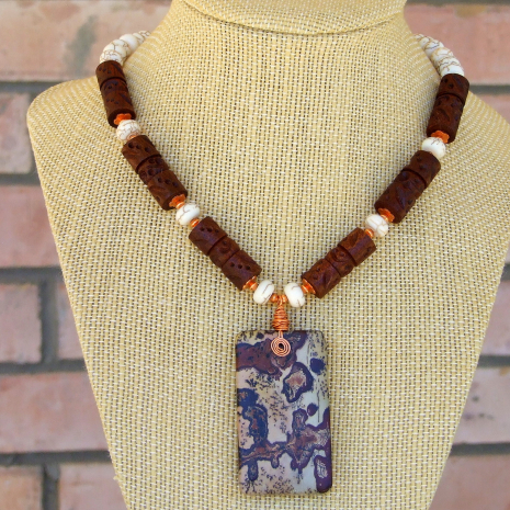 paintbrush picture jasper gemstone jewelry for women with wood and magnesite