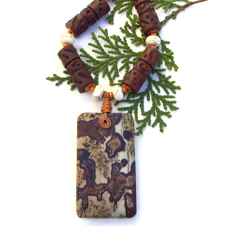 paintbrush picture jasper gemstone necklace for women with wood and magnesite