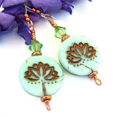 pale green copper lotus flower earrings yoga jewelry