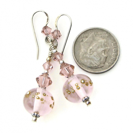 pale pink lampwork glass jewelry with Swarovski crystals