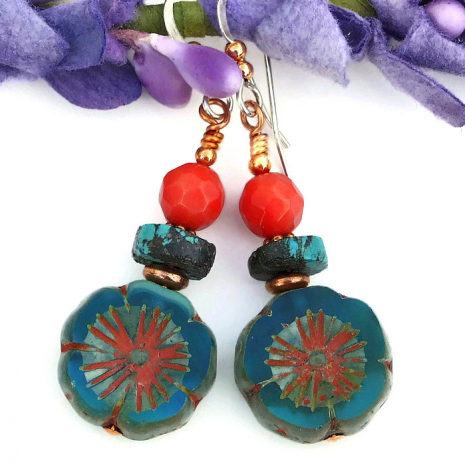 aqua and red pansy flower jewelry handmade gift