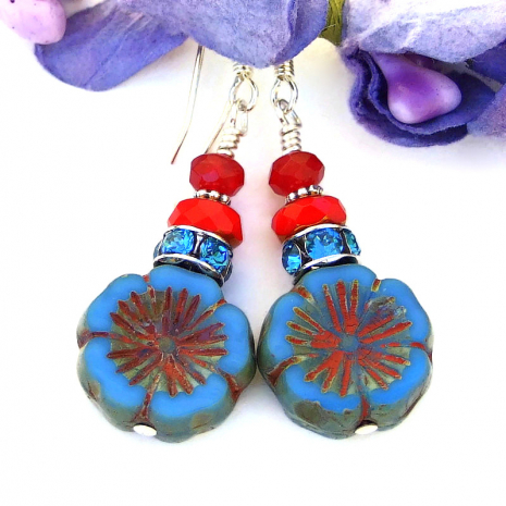 pansy flower earrings with blue and red