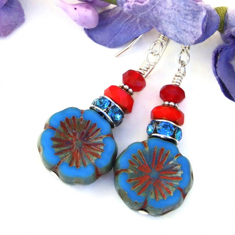 pansy flower jewelry with blue and red