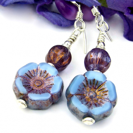 pansy pansies handmade dangle jewelry sky blue purple sterling