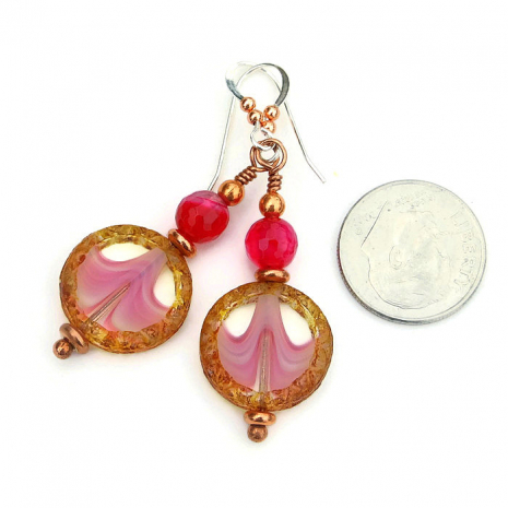Beautiful handmade pink and brown Czech glass earrings with fuchsia agate.