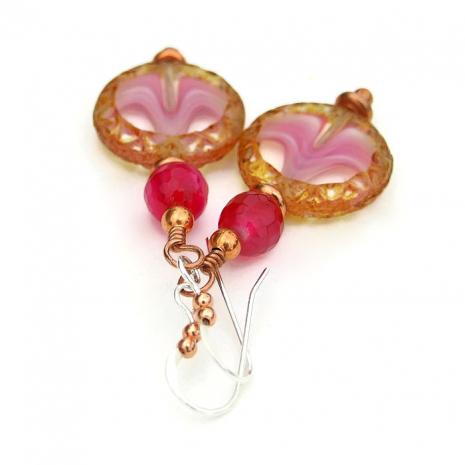 Artisan handmade pink and brown Czech glass earrings.