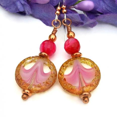 Pink wave design Czech glass and fuchsia agate handmade earrings.