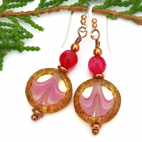 Unique pink and brown handmade Czech glass earrings