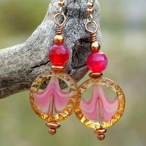 One of a kind handmade earrings with pink, clear and brown Czech glass coins.