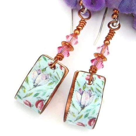 pastel pink mint green copper hoop earrings with flowers