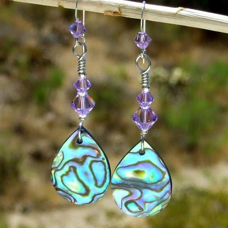 paua abalone shell earrings gift for women
