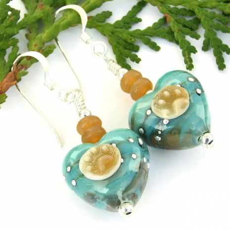 handmade lampwork heart and dog paw prints earrings