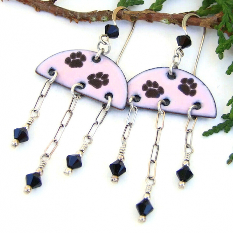 paw print dog lover cat lover dangle earrings