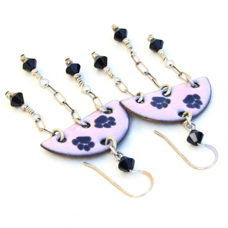 paw print earrings dog cat enamel pink black