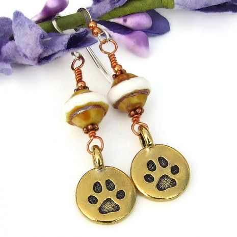 handmade dog paw print earrings for the woman who loves dogs
