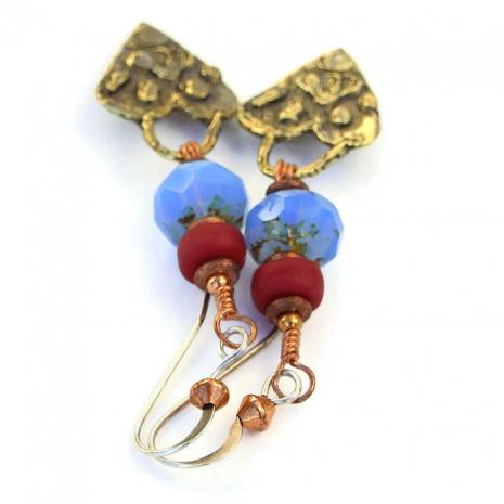 Artisan handmade paw print and hearts dog earrings.