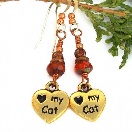 pawprints love my cat heart earrings orange czech glass