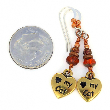 pawprints love my cat heart jewelry orange czech glass
