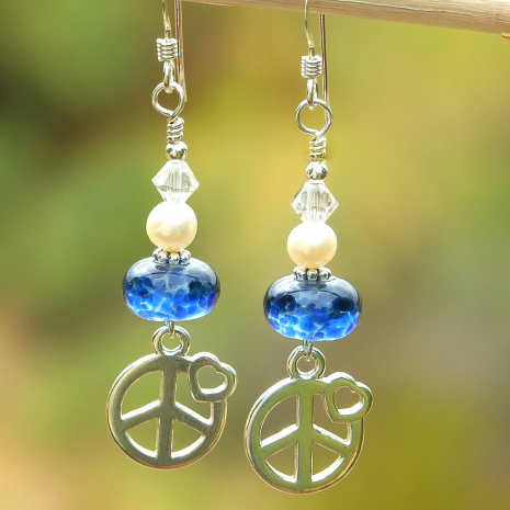 peace sign and hearts earrings gift for women
